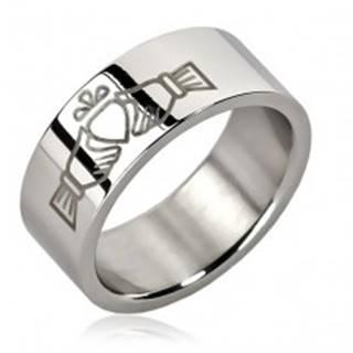 Oceľový prsteň - jedno srdce v rukách - Veľkosť: 51 mm