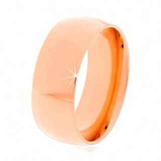Oceľový prsteň v medenom odtieni, lesklé zaoblené ramená, 8 mm - Veľkosť: 57 mm