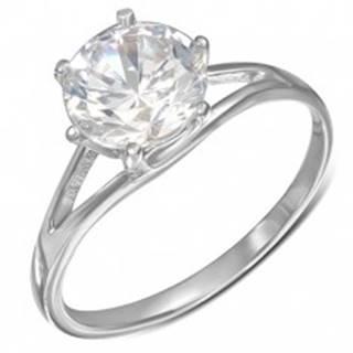 Oceľový snubný prsteň - okrúhly číry zirkón, rozdvojené ramená - Veľkosť: 49 mm