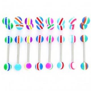 Piercing do jazyka - farebné polkruhy, čiarky - Farba piercing: Fialová-Žltá
