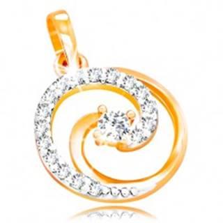 Prívesok v 14K zlate - kontúra kruhu s trblietavou špirálou a čírymi zirkónmi