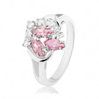 Prsteň s rozdvojenými ramenami, číre zirkóniky, zrnká ružovej farby - Veľkosť: 48 mm