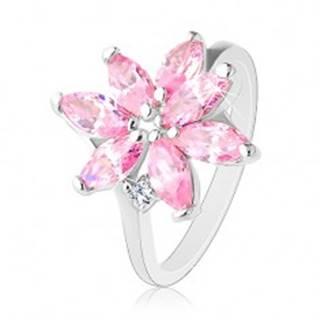 Prsteň s úzkymi ramenami, žiarivý zirkónový kvet ružovej farby, číry zirkónik - Veľkosť: 51 mm