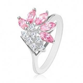 Prsteň striebornej farby, číre zirkóny, zrnká v ružovom odtieni - Veľkosť: 49 mm