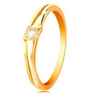 Prsteň v žltom 14K zlate - okrúhly číry zirkón v kosoštvorci, rozdelené ramená - Veľkosť: 50 mm