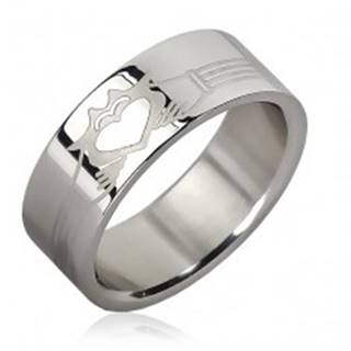 Prsteň z chirurgickej ocele - pásiky, planúce srdce v rukách - Veľkosť: 51 mm