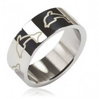 Prsteň z chirurgickej ocele - svetlé delfíny - Veľkosť: 48 mm