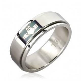 Prsteň z chirurgickej ocele - zelené pole, srdce v rukách - Veľkosť: 51 mm