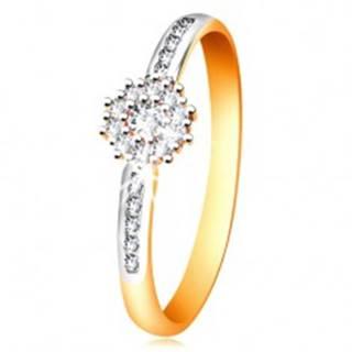 Prsteň z kombinovaného 14K zlata - číry ligotavý kvietok, zirkónové ramená - Veľkosť: 50 mm