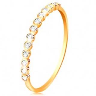 Prsteň zo žltého 14K zlata - ligotavá zirkónová línia čírej farby - Veľkosť: 50 mm