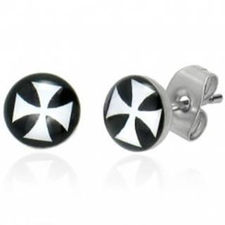 Puzetové náušnice z ocele, glazúra, biely maltézsky kríž na čiernom pozadí