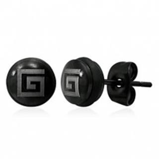 Puzetové oceľové náušnice s gréckym symbolom, čierne