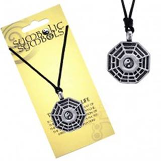 Šnúrkový náhrdelník - kovový prívesok, trigramy a Jin Jang