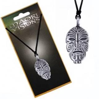 Šnúrkový náhrdelník - plochá kovová zdobená tvár domorodca