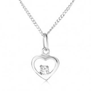 Strieborný 925 náhrdelník, lesklý obrys srdiečka, kamienok čírej farby