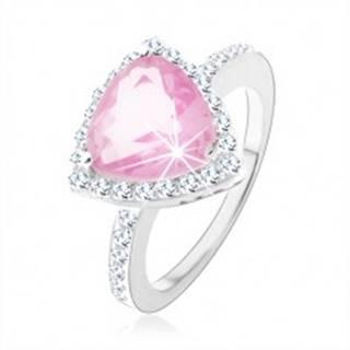 Strieborný 925 prsteň, trojuholníkový ružový zirkón, ligotavý číry lem - Veľkosť: 47 mm