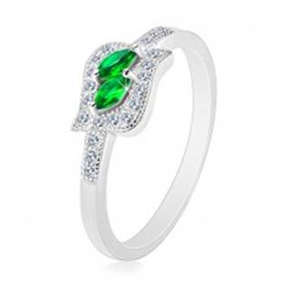 Strieborný 925 prsteň, zelené zirkónové zrnká v čírej kontúre, ródiovaný - Veľkosť: 47 mm