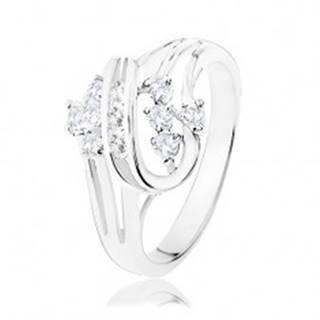 Trblietavý prsteň s rozdelenými ramenami, zatočené línie, číre zirkóniky - Veľkosť: 50 mm