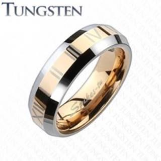 Tungstenová obrúčka - pás medenej farby s rímskymi číslami - Veľkosť: 49 mm