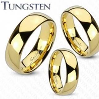 Tungstenová obrúčka zlatej farby, lesklý a hladký povrch, 6 mm - Veľkosť: 49 mm