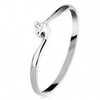 Zásnubný prsteň v bielom 14K zlate - číry zirkón, úzke zahnuté ramená - Veľkosť: 48 mm