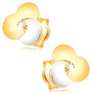 Zlaté diamantové náušnice 585 - číry briliant vo veľkom dvojfarebnom kvete
