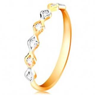 Zlatý 14K prsteň - dvojfarebné zrnká so vsadenými zirkónmi, vysoký lesk - Veľkosť: 50 mm