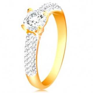 Zlatý 14K prsteň - trblietavé ramená, vyvýšený okrúhly zirkón čírej farby - Veľkosť: 50 mm