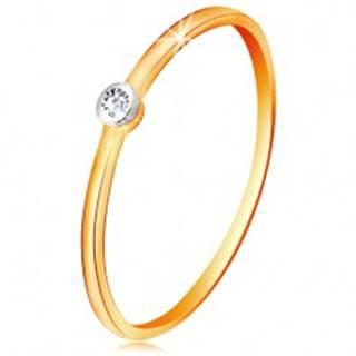 Zlatý dvojfarebný prsteň 585 - číry zirkón v okrúhlej objímke, tenké ramená - Veľkosť: 48 mm