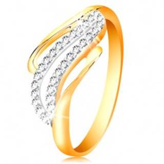 Zlatý prsteň 14K - zvlnené línie ramien, ligotavé číre zirkóniky - Veľkosť: 50 mm