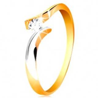 Zlatý prsteň 585 - okrúhly číry zirkón, dvojfarebné a zvlnené ramená - Veľkosť: 50 mm