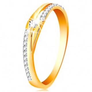 Zlatý prsteň 585 - rozdelené línie ramien, trblietavé pásy a číry zirkón - Veľkosť: 51 mm