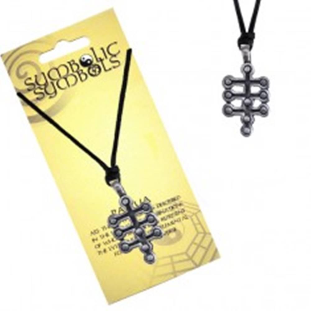 Šperky eshop Čierna šnúrka na krk a kovový prívesok - strom života
