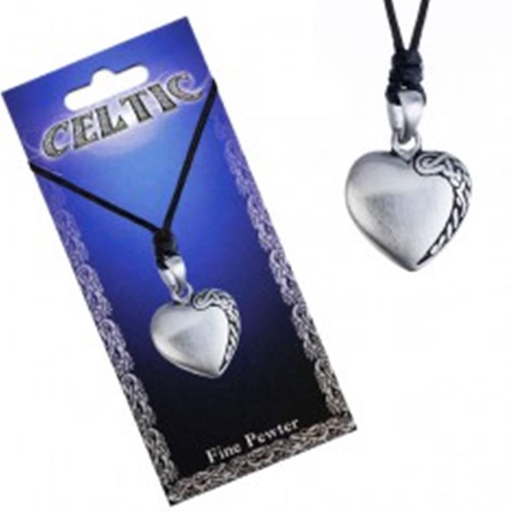 Šperky eshop Čierny šnúrkový náhrdelník, kovový prívesok srdca, keltský uzol