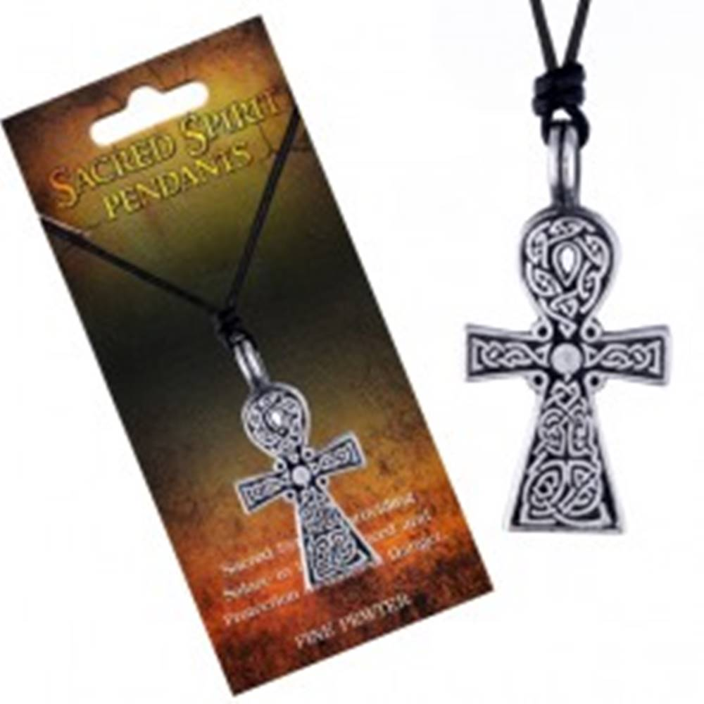 Šperky eshop Čierny šnúrkový náhrdelník, prívesok kríža Sacred Spirit, keltské uzly