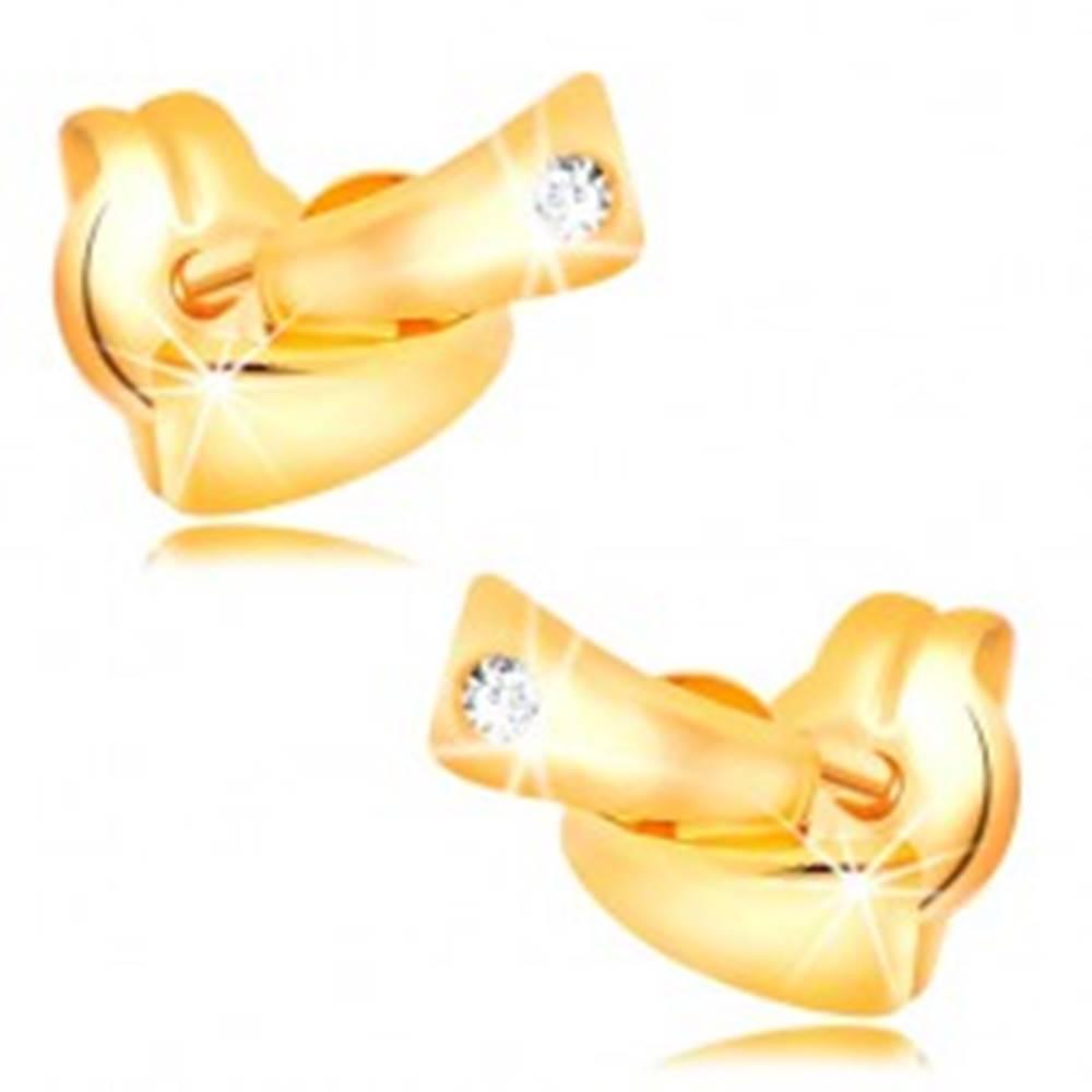 Šperky eshop Diamantové náušnice v žltom 14K zlate - dva malé oblúky, číry briliant