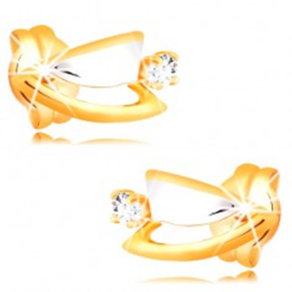 Šperky eshop Diamantové náušnice zo 14K zlata - dvojfarebné trojuholníčky, číry briliant