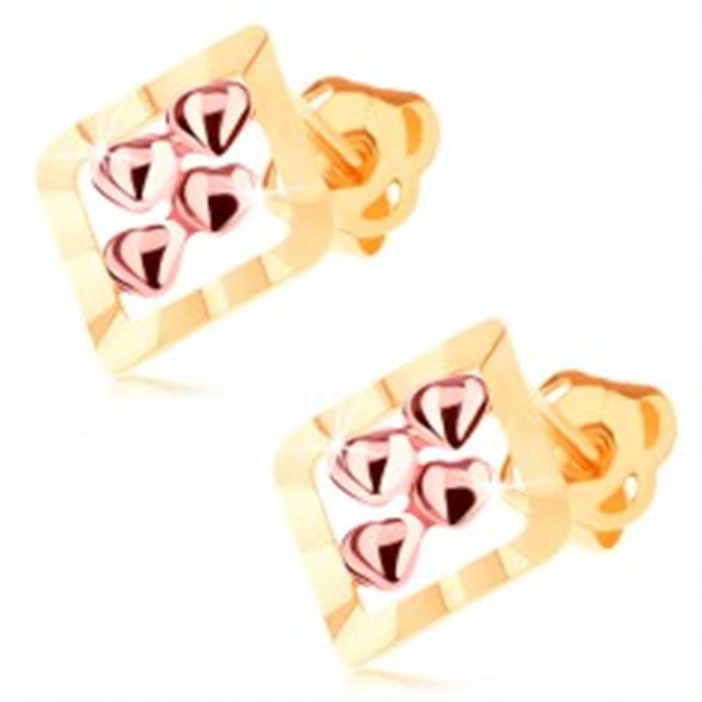 Šperky eshop Dvojfarebné náušnice v 14K zlate - obrys kosoštvorca, štyri drobné srdiečka