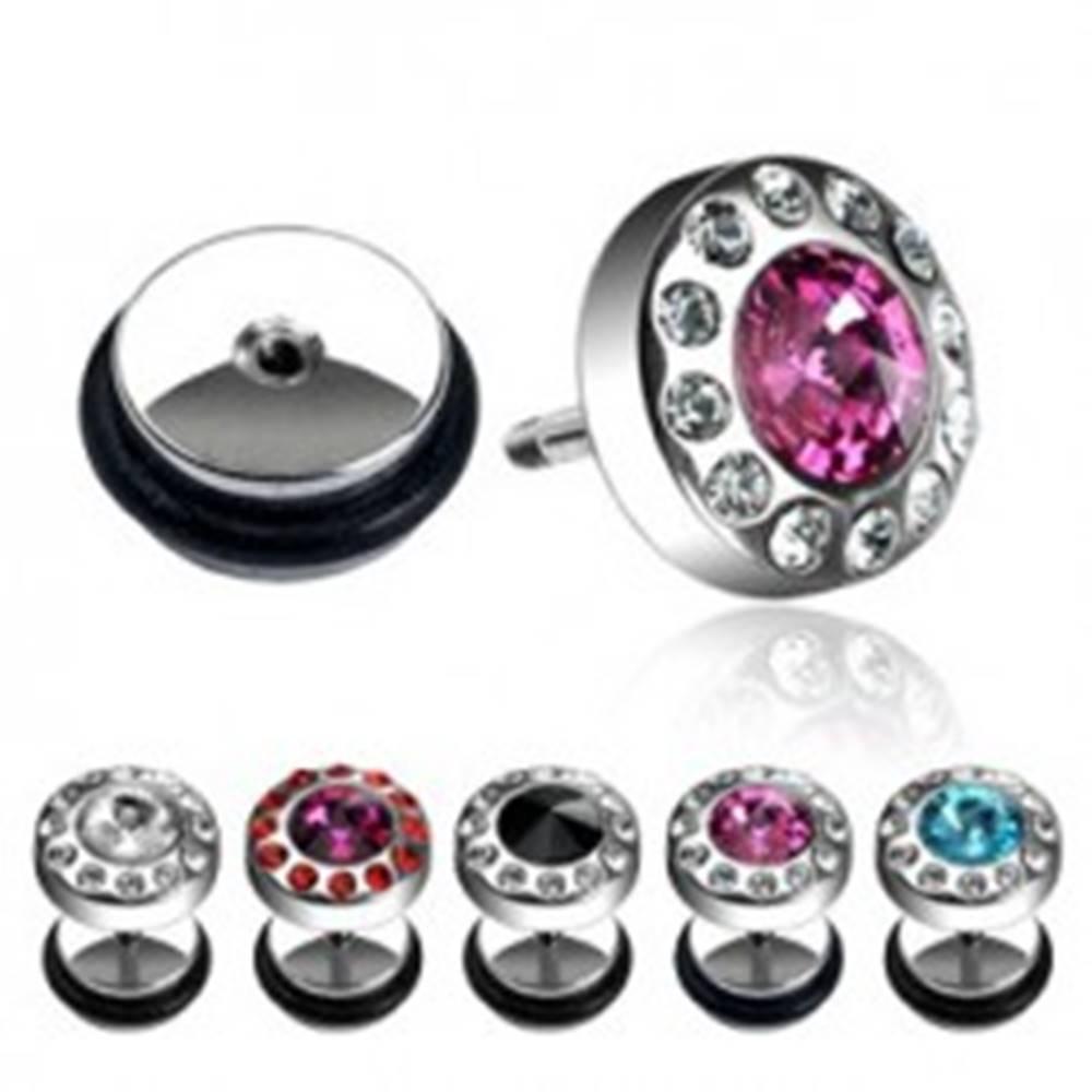 Šperky eshop Falošný piercing - kamienok obklopený zirkónmi - Farba zirkónu: Aqua - číra
