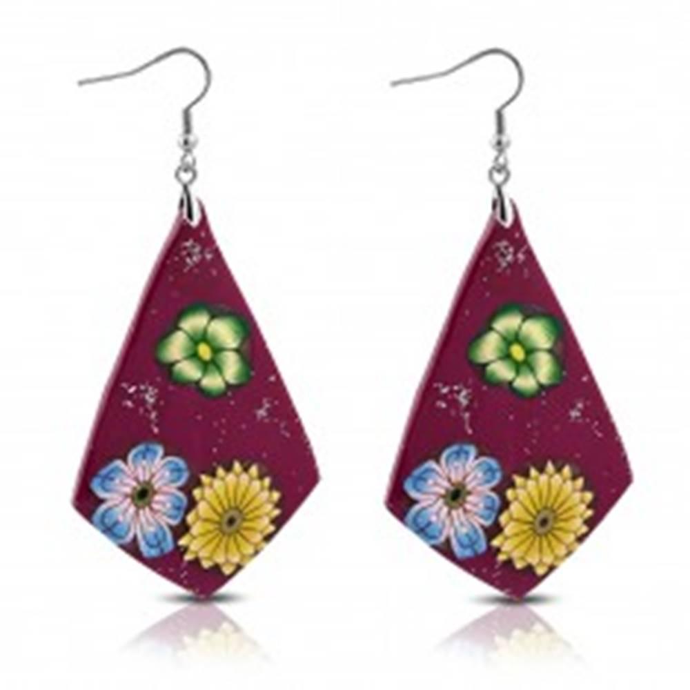 Šperky eshop FIMO náušnice - fialové kosoštvorce, kvety