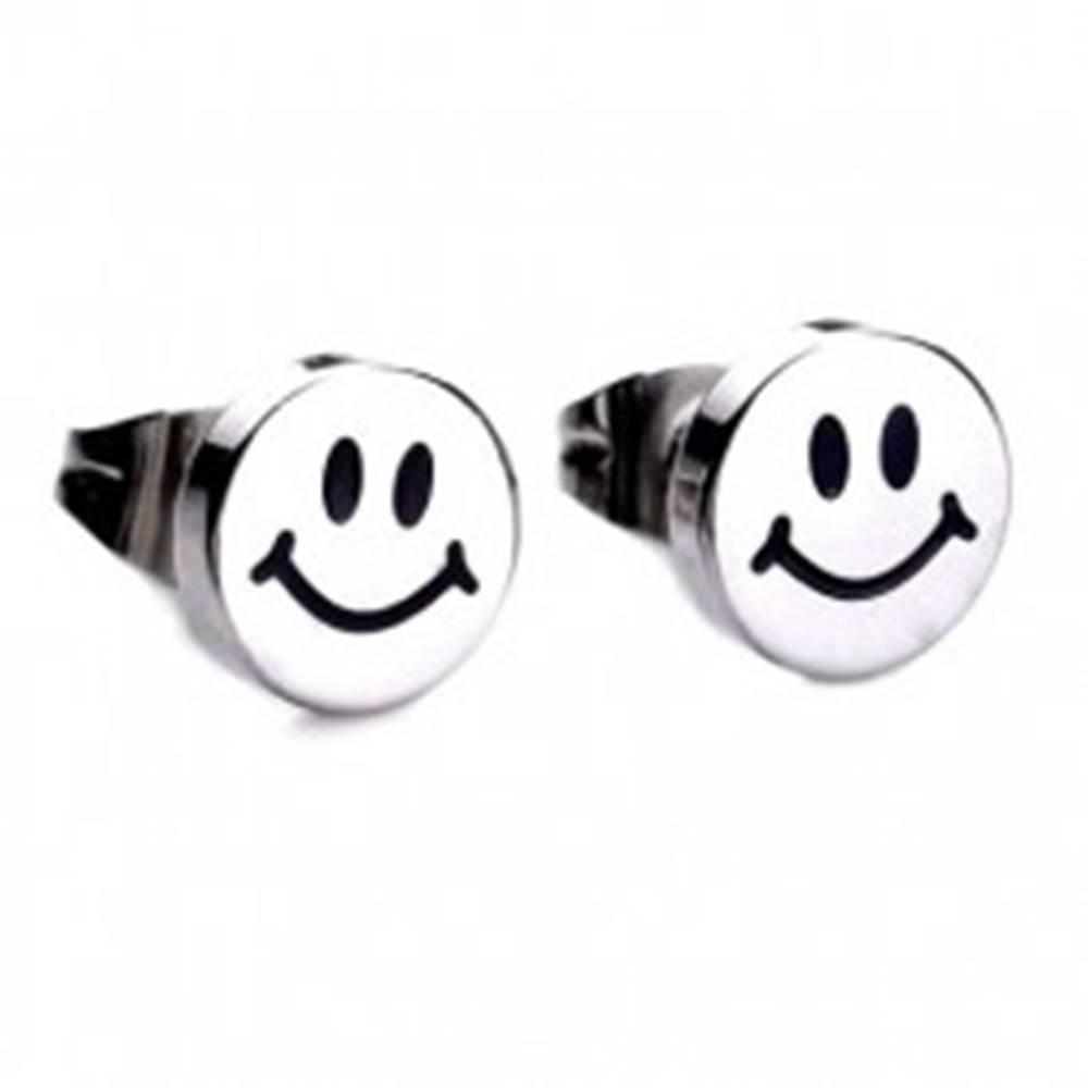Šperky eshop Lesklé puzetové náušnice z ocele, strieborná farba, usmievavý smajlík