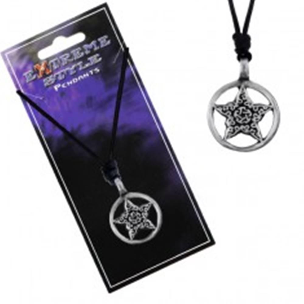 Šperky eshop Náhrdelník - čierna šnúrka, hviezda s ornamentmi v kruhu