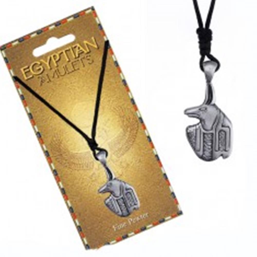 Šperky eshop Náhrdelník - čierna šnúrka, kovový prívesok, egyptský amulet Anubis