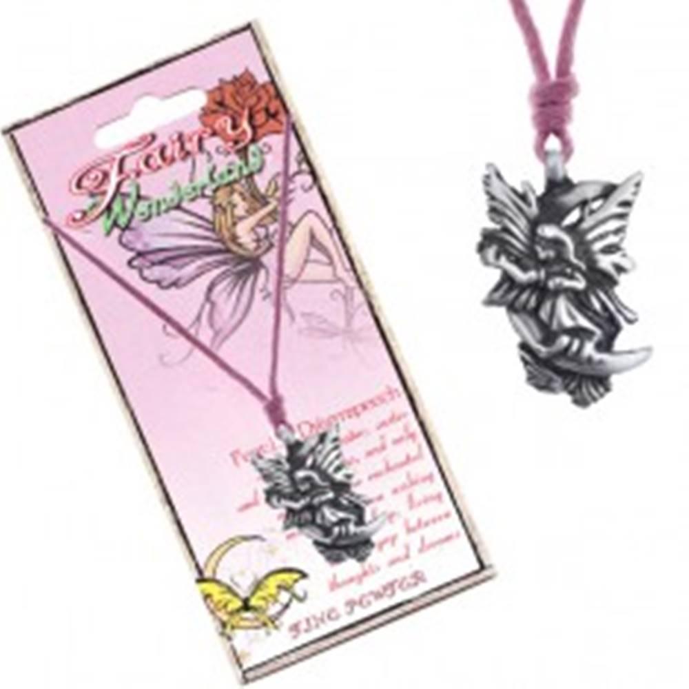 Šperky eshop Náhrdelník - ružová šnúrka, kovový prívesok, snová víla