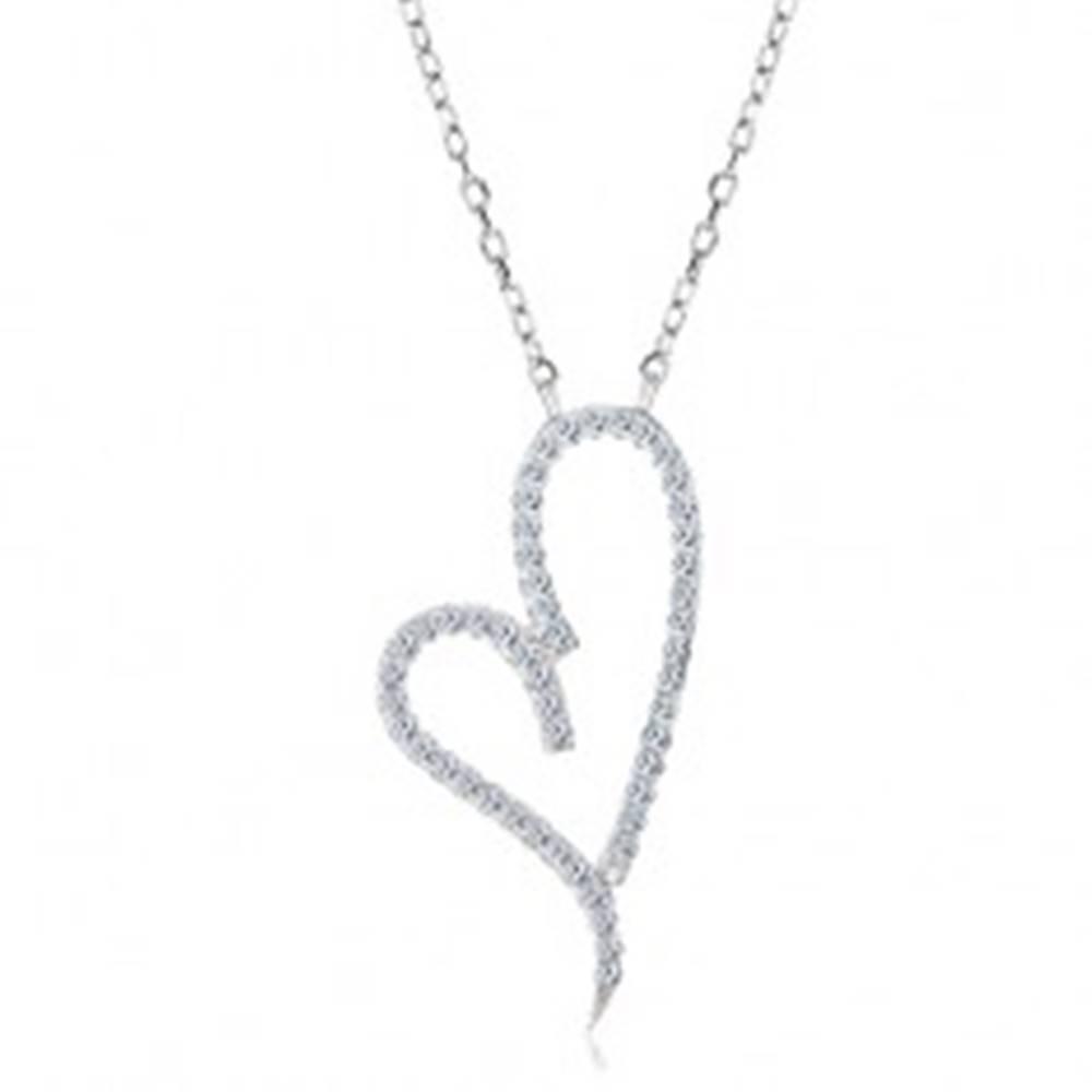 Šperky eshop Náhrdelník zo striebra 925, obrys asymetrického srdca s čírymi zirkónmi