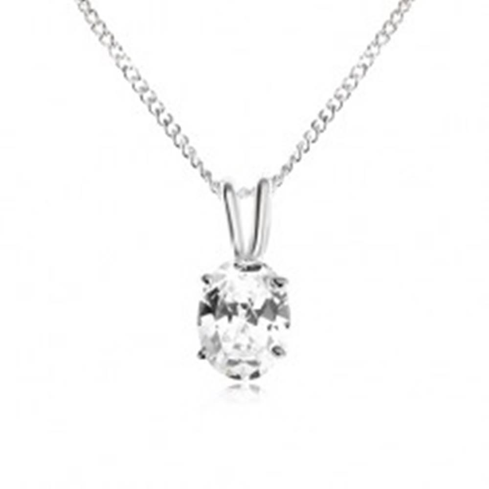 Šperky eshop Náhrdelník zo striebra 925 - oválny zirkón čírej farby, rozdvojené očko na retiazku