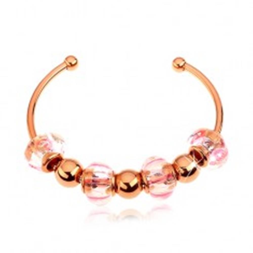 Šperky eshop Náramok na ruku z ocele 316L, medená farba, sklenené a oceľové korálky