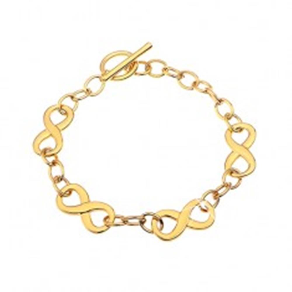 Šperky eshop Náramok z chirurgickej ocele zlatej farby so symbolmi nekonečna
