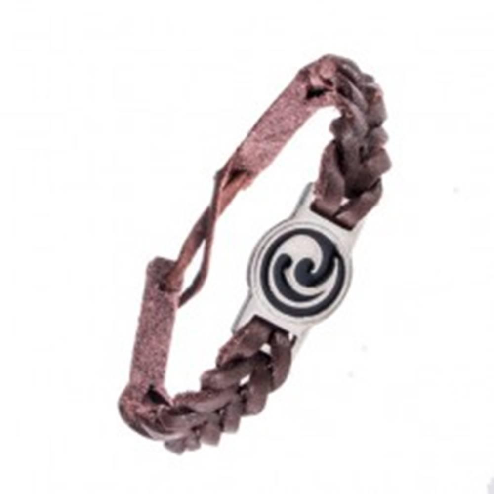 Šperky eshop Náramok z kože - tmavohnedý, prepletený, maorský ornament