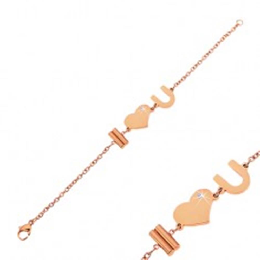 Šperky eshop Náramok z ocele 316L medenej farby s nápisom I Love You a zirkónom